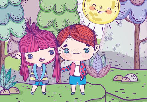 kids, cute little boy and girl anime cartoon grass trees sun landscape