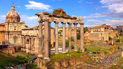 Top view of ancient ruins of the Roman forum or Forum Romanum in Rome, Italy Wall mural