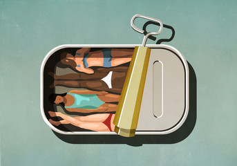 Women sunbathing inside sardine can