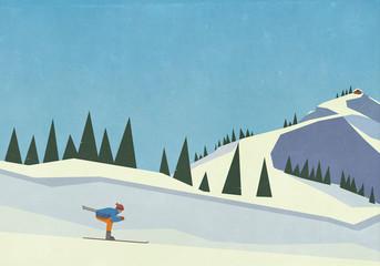 Downhill skier descending snowy mountain slope