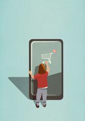 Girl using online shopping app on large smart phone