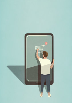 Illustration of man doing online shopping with mobile app on smartphone
