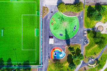 Aerial view of playground and football pitch