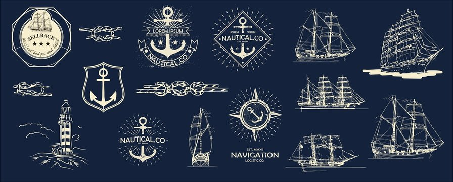 Mega Vector set. Nautical useful design elements. Inspirational themplate of Nautical Style Logo, Emblem Designs. Vintage sea label.