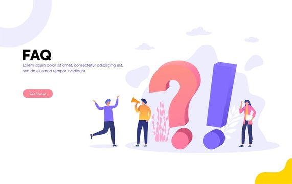 FAQ and QNA vector ilustration concept, People Characters Standing next to Question Marks. Woman and Man  Online Support center. Flat Vector Illustration, can use for, landing page, template, ui, web