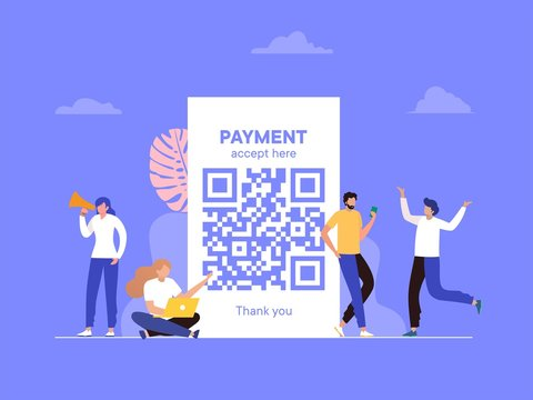 QR code scanning vector illustration concept, people use smartphone and scan qr code for payment