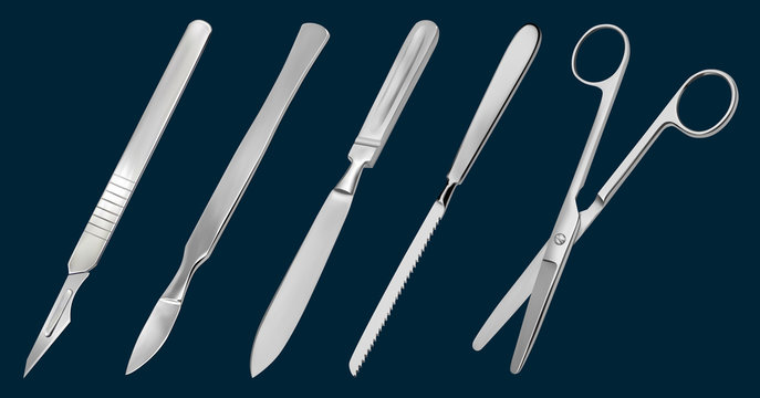 A set of surgical cutting tools. Reusable scalpel, delicate scalpel with removable blade, amputation knife Liston, metacarpal saw, scissors straight with blunt ends. Vector illustration