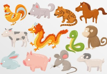 Chinese Zodiac Animal Illustrations with Cute Painted Style