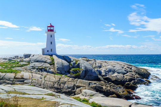 Lighthouse of the fishing village Peggys Cove