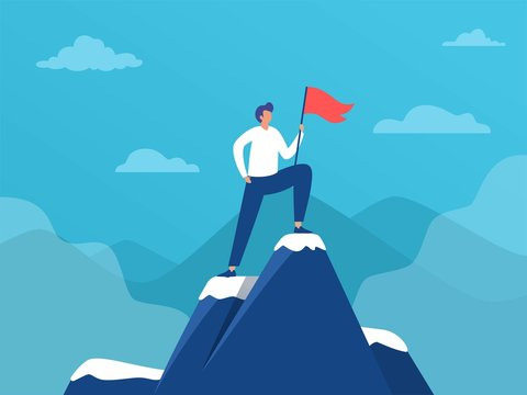 Man standing on top of mountain with flag,  sucess leadership, vector illustration concept, Business man reach goal,  can be used for landing page, template, ui, web, homepage, poster, banner, flyer