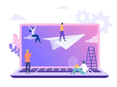 Business vision vector illustration concept, flat character standing on paper plane with binocular, people achieving goal can use for, landing page, template, ui, web, homepage, poster, banner, flyer