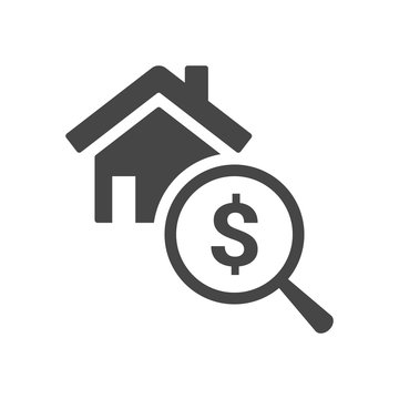 Home appraisal icon. Real estate clipart isolated on white background. Vector illustration.