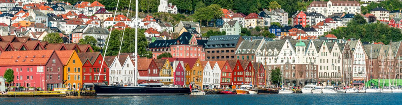 Panoramic of the multi coloured facades of buildings in Bryggen, Bergen, Hordaland County, Western Fjords region