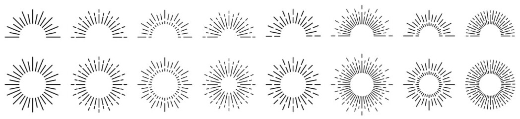 Sunburst line illustration. Sunrise. Vector illustration