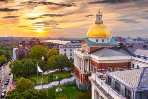 Fototapete Boston, Massachusetts, USA cityscape with the State House