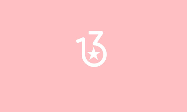 A line art  number logo 13 with a star