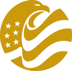 Wall Mural - Eagle Head Bold american flag gold circle