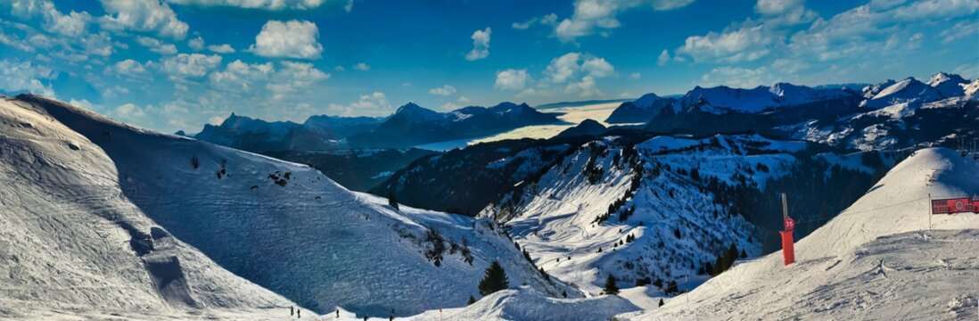 Beautiful panorama shot in Morzine, French Alpine Resort, France under an amazing Sky in Winter