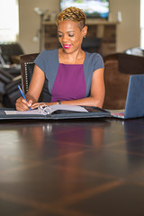African American Woman Working from Home