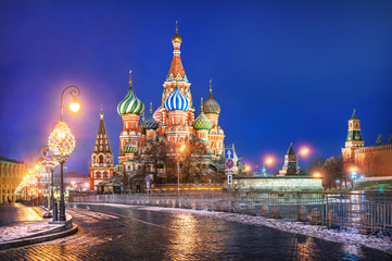 Canvas Prints Moscow Собор Василия Блаженного и фонари St. Basil's Cathedral and festive lights
