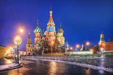 Canvas Prints Moscow Собор Василия Блаженного и фонари St. Basil's Cathedral and festive lights
