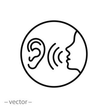 listen carefully to the speaker icon, social communication, human attentively talk, whisper on ear, thin line web symbol on white background - editable stroke vector illustration eps10
