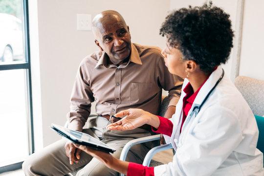 Patient listening to doctor