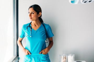 Portrait of nurse in medical room