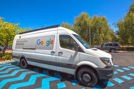 Mountain View, California, United States - August 15, 2016: the famous Google car van used by Google employees to move around the Google headquarters, also called Googleplex.