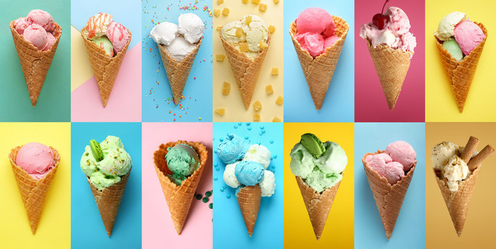 Collage with tasty ice-cream on color background