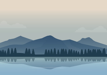 Foto auf Gartenposter Beige Vector illustration of beautiful foggy lake and mountain landscape. Minimalist mountain background vector