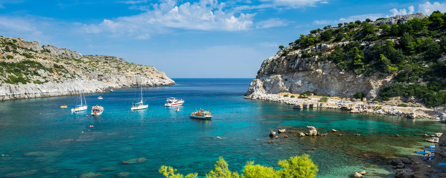 Beautiful turquoise water at Anthony Quinn Bay Rhodes Island Rodos Greece Europe