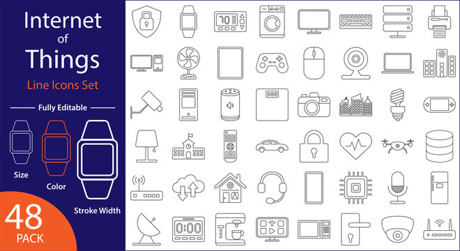 Internet of Things Icons Set - Minimal Flat Vector Line Icons