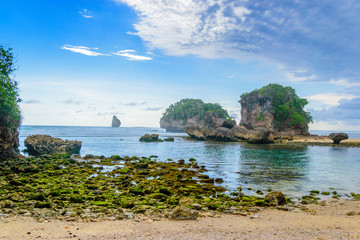 Wonderful Batu Leter Beach in South Malang, East Java, Indonesia
