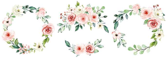 Wreaths, floral frames, watercolor flowers pink roses, Illustration hand painted. Isolated on white background. Perfectly for greeting card design. Fototapete