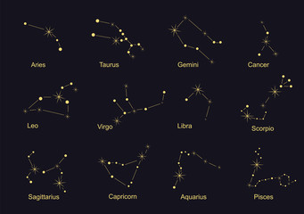 Constellations - signs of the zodiac, golden on a black background, with names. Stock vector graphics.