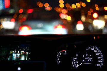 Fotomurales - light of traffic jam on night city street