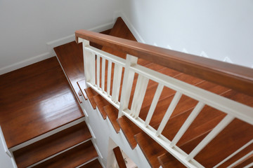 Keuken foto achterwand Trappen brown wooden stair interior decorated modern style of residential house