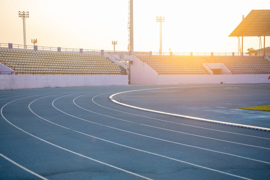 Running track in the stadium boll in the country. Chair for fan club