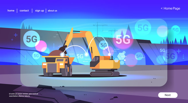 heavy excavator loading soil on dump truck 5G online wireless system connection professional equipment working on coal mine opencast stone quarry background flat horizontal copy space vector