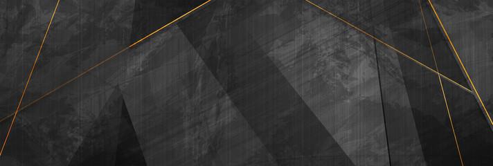 Fotobehang - Black grunge corporate abstract background with golden lines. Vector banner design