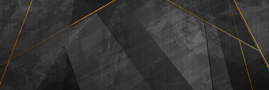 Black grunge corporate abstract background with golden lines. Vector banner design