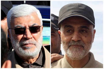 Combination of file photos showing Abu Mahdi al-Muhandis, a commander in the Popular Mobilization Forces and Iranian Revolutionary Guard Commander Qassem Soleimani