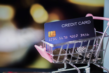 credit card and coin in shopping cart model closeup, online buying concept