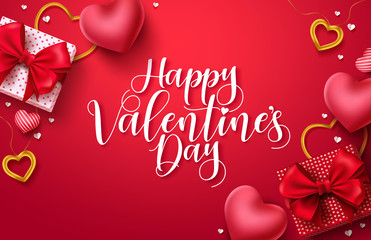 Happy valentines day vector banner background. Valentines day greeting card with typography and elements like gifts, red heart shapes and jewelries in red background . Vector illustration Fotomurales