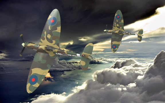 3d rendering of two world war two airplanes flying together in the clouds
