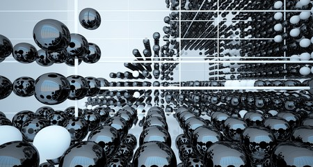 Abstract white and black gradient  interior multilevel public space from array spheres with window. 3D illustration and rendering. Fotoväggar