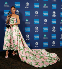 Jennifer Lopez poses backstage after receiving the Spotlight Award, Actress for Hustlers, at the 2020 Palm Springs International Film Festival Awards Gala in Palm Springs, California, U.S., January 2, 2020.