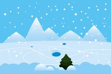 Poster Blauw Winter landscape mountains frosen lake river ice. Pine tree snow footprints on ice
