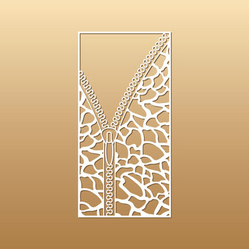 Laser cut vector panel (ratio 1:2). Cutout silhouette with zipper and animal skin patterns (giraffe). The template is suitable for engraving, laser cutting wood, metal, stencil.